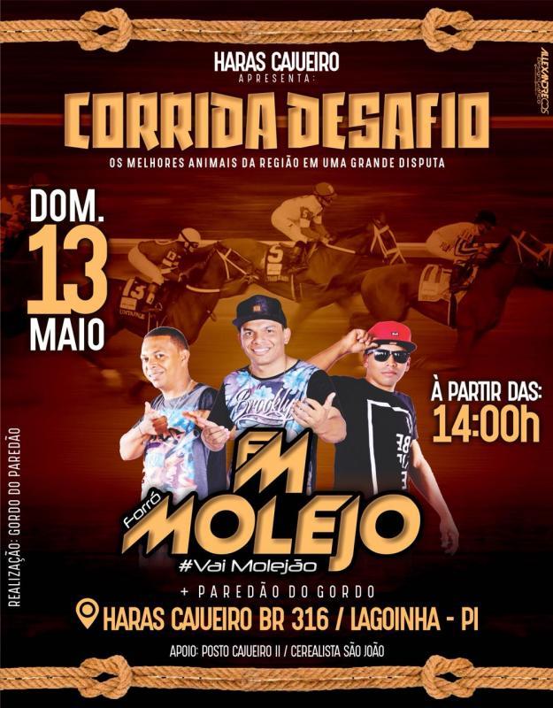 Domingo dia 13 de Maio tem mais uma grande carreira de Desafio no Haras Cajueiro com Forró Molejo
