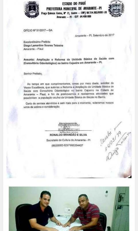Prefeito Diego Teixeira da inicio a Obra de Ampliação de Posto de Saúde para População de Amarante