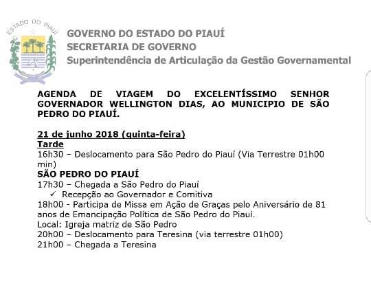 Governador Wellington Dias Divulga agenda de Viagem para a Cidade de São Pedro do Piauí