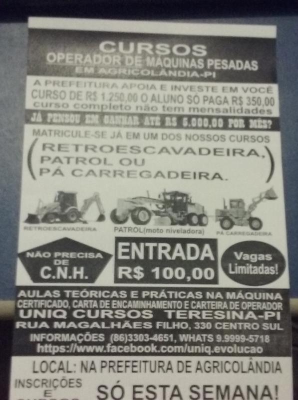 Curso de Maquinas Pesadas na Cidade de Agricolândia