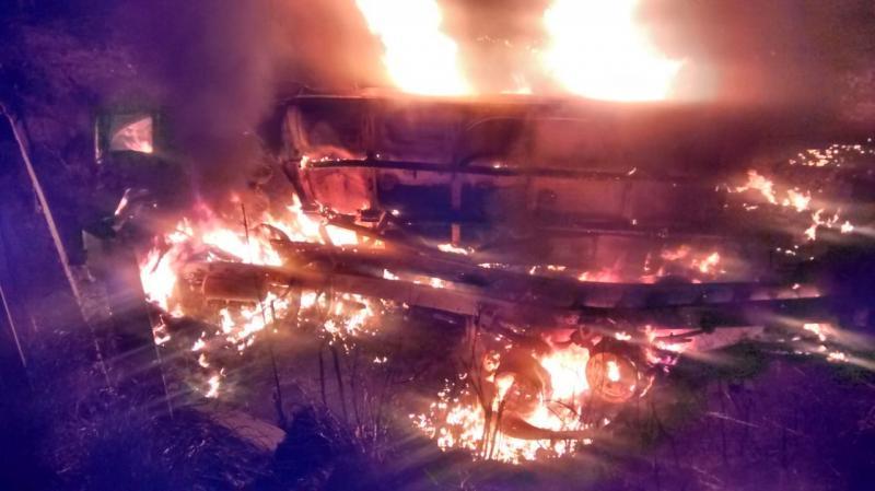 Caminhão tanque pega fogo e Motorista Morre na BR 316