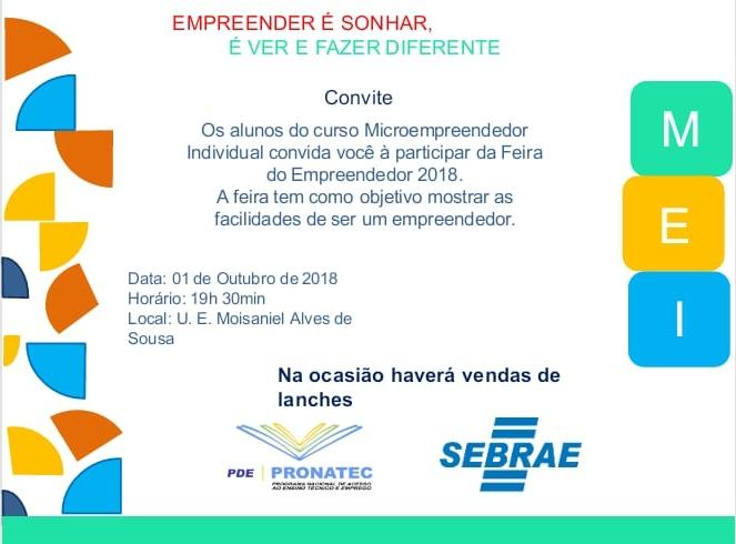 Nesta Segunda Feira 01 de Outubro acontece a Feira do Empreendedor em Lagoinha