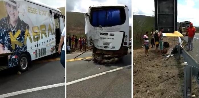 Acidente com ônibus do cantor Kabral deixa um morto e outro ferido