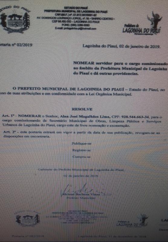 Alan José é Nomeado Secretário de Obras em Lagoinha do Piauí