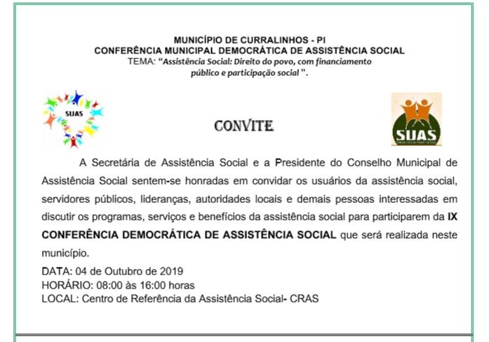 Dia 4 de outubro acontece a IX Conferência da Assistência Social em Curralinhos