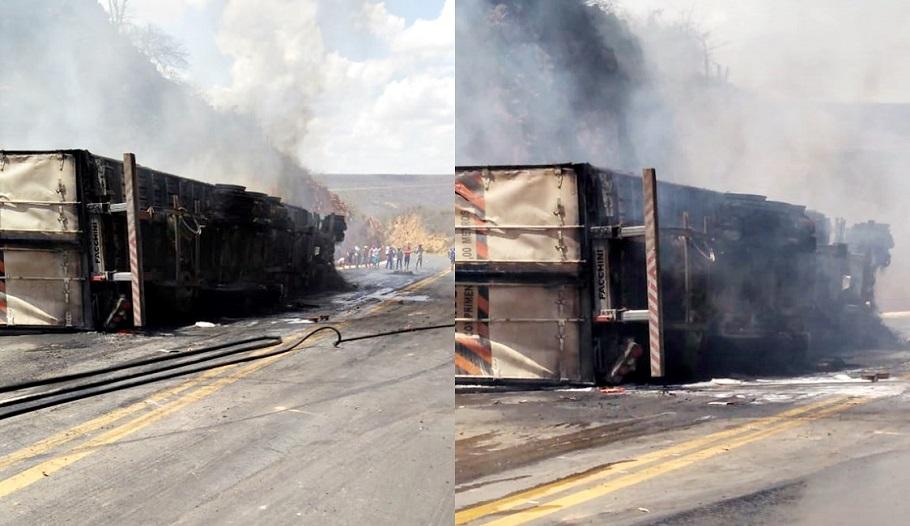 Motorista morre carbonizado após carreta tombar e incendiar na BR-316