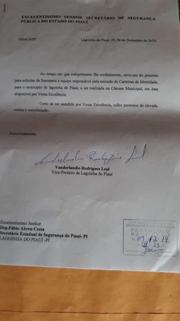 Nesta sábado dia 25 tem emissão de carteiras de Identidade em Lagoinha do Piauí na Escola Moisaniel Alves de Sousa
