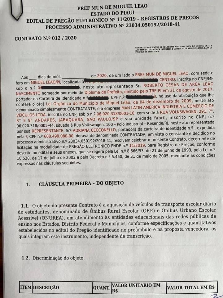 Prefeito Robertinho Assina Contrato para Aquisição de Transporte Escolar