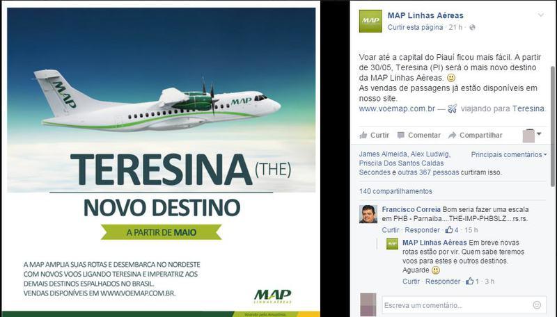 Empresa de aviação anuncia novas linhas aéreas para Teresina e Maranhão